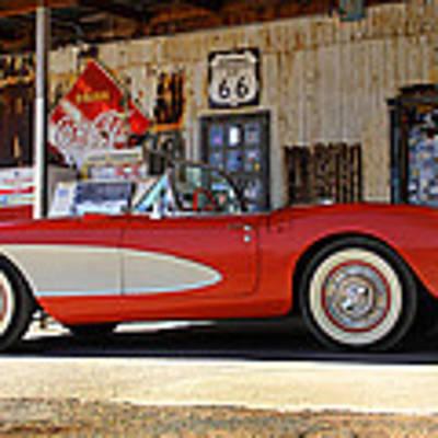 Classic Corvette On Route 66 Poster