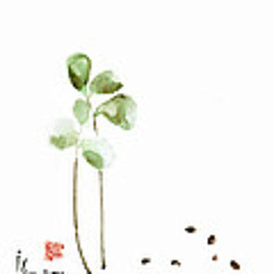 Coffee Cafe Plant And Beans Brown Green Watercolor Painting Kitchen Art Poster