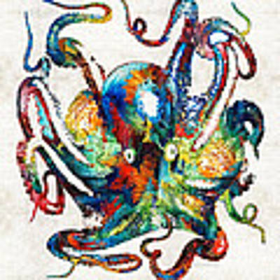 Colorful Octopus Art By Sharon Cummings Poster