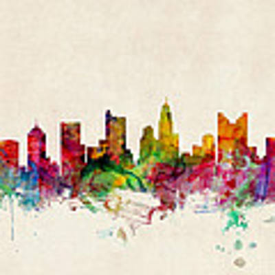 Columbus Ohio Skyline Poster by Michael Tompsett