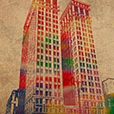 Dime Building Iconic Buildings Of Detroit Watercolor On Worn Canvas Series Number 1 Poster