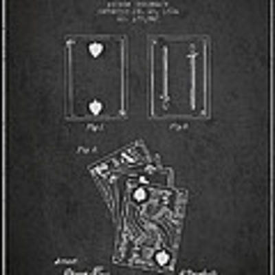 Dougherty Playing Cards Patent Drawing From 1876 - Dark Poster by Aged Pixel