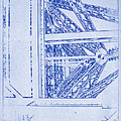 Eiffel Towers Steel Frame Blueprint Poster