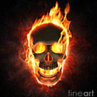 Evil Skull In Flames And Smoke Poster