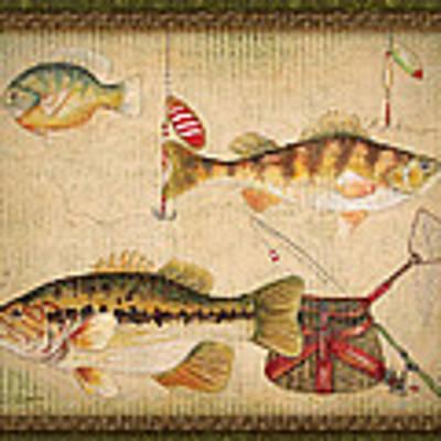 Fish Trio-a-greenborder Poster