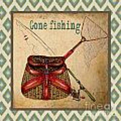Gone Fishing-ikat Poster by Jean Plout