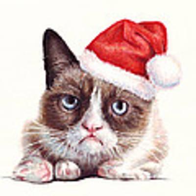 Grumpy Cat As Santa Poster by Olga Shvartsur