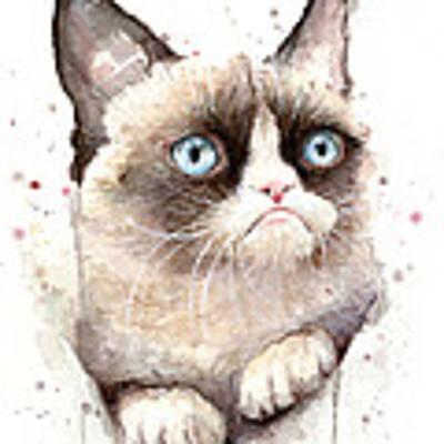 Grumpy Cat Watercolor Poster by Olga Shvartsur