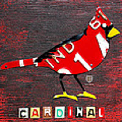 Indiana Cardinal Bird Recycled Vintage License Plate Art Poster