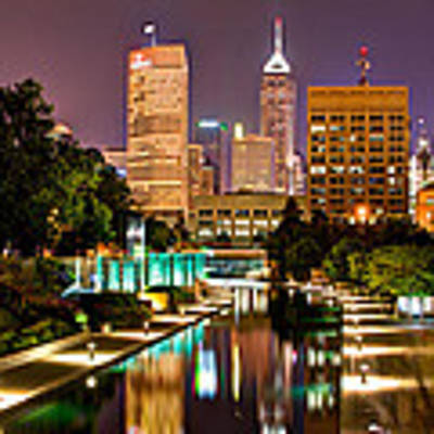 Indianapolis Skyline - Canal Walk Bridge View Poster by Gregory Ballos