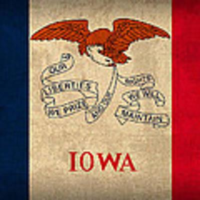 Iowa State Flag Art On Worn Canvas Poster