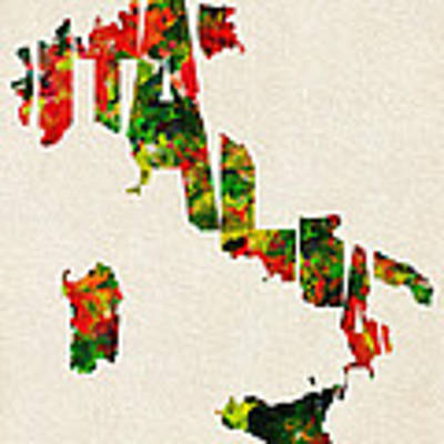 Italy Typographic Watercolor Map Poster by Inspirowl Design