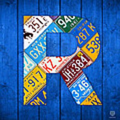 Letter R Alphabet Vintage License Plate Art Poster