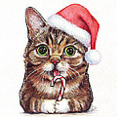 Cat Santa Christmas Animal Poster by Olga Shvartsur