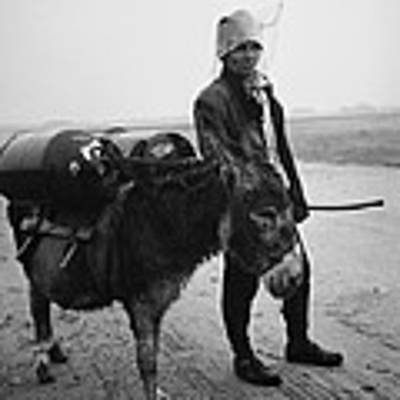 Man With Donkey In Communist Romania Poster by Emanuel Tanjala