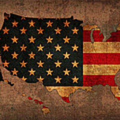 Map Of America United States Usa With Flag Art On Distressed Worn Canvas Poster by Design Turnpike
