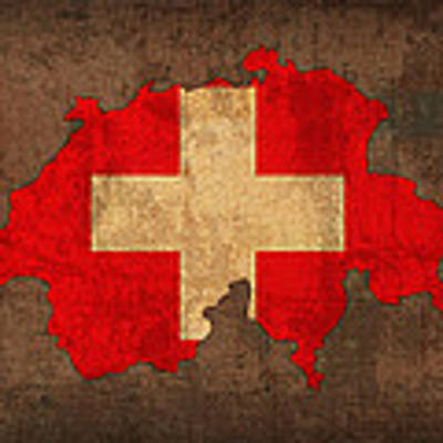 Map Of Switzerland With Flag Art On Distressed Worn Canvas Poster