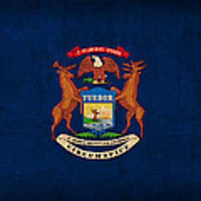 Michigan State Flag Art On Worn Canvas Poster