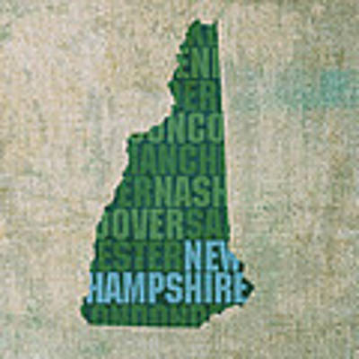 New Hampshire Word Art State Map On Canvas Poster by Design Turnpike