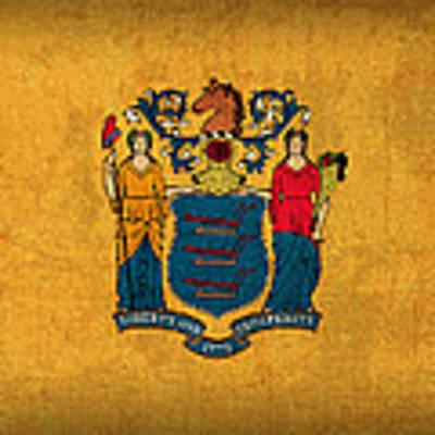 New Jersey State Flag Art On Worn Canvas Poster