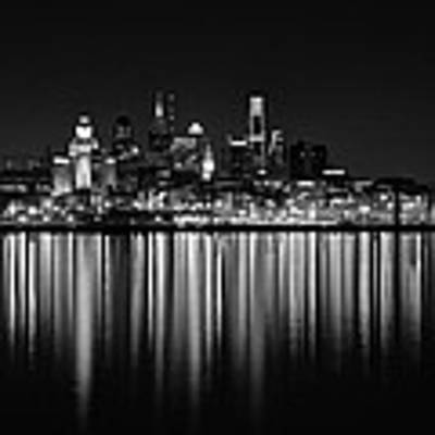 Nightfall In Philly B/w Poster by Jennifer Ancker