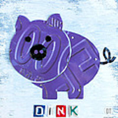 Oink The Pig License Plate Art Poster