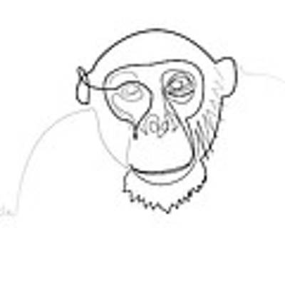 Oneline Monkey Poster