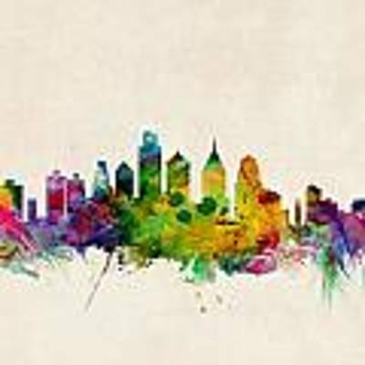 Philadelphia Skyline Poster by Michael Tompsett