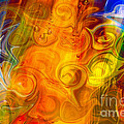 Playing With Bubbles Textured Abstract Artwork By Omaste Witkows Poster by Omaste Witkowski