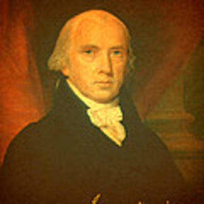 President James Madison Portrait And Signature Poster