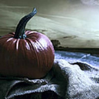 Pumpkin At Sunset Poster