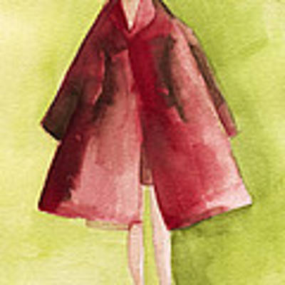 Red Coat - Watercolor Fashion Illustration Poster by Beverly Brown