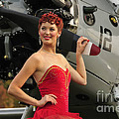 Redhead Pin-up Girl In 1940s Style Poster by Christian Kieffer