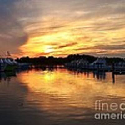 Sunset At The Indian River Marina Delaware Poster by Kim Bemis