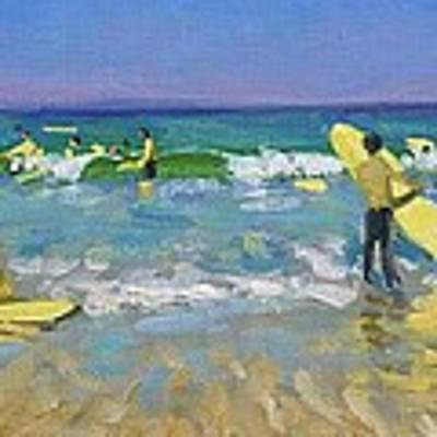 Surf School At St Ives Poster by Andrew Macara