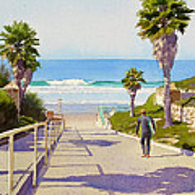 Surfer Dude At Fletcher Cove Poster by Mary Helmreich
