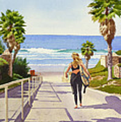 Surfer Girl At Fletcher Cove Poster by Mary Helmreich