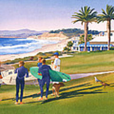 Surfers Gathering At Del Mar Beach Poster by Mary Helmreich