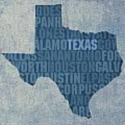 Texas Word Art State Map On Canvas Poster