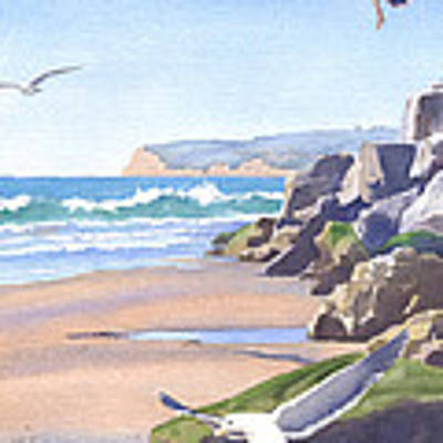 Three Seagulls At Coronado Beach Poster