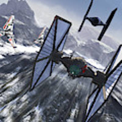 Tie Fighters On Patrol Over An Artic Poster by Kurt Miller