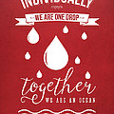Together We Are An Ocean - Red Poster by Aged Pixel