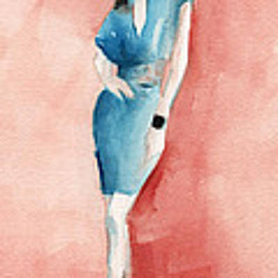Turquoise Dress Watercolor Fashion Illustration Poster by Beverly Brown