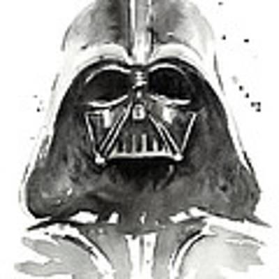 Darth Vader Watercolor Poster by Olga Shvartsur