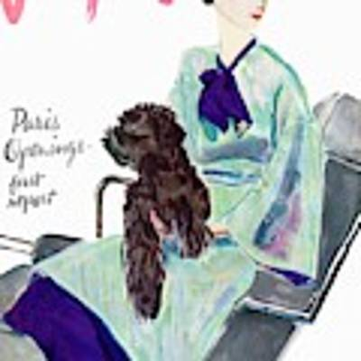 Vogue Cover Illustration Of A Woman With Dog Poster by Pierre Mourgue