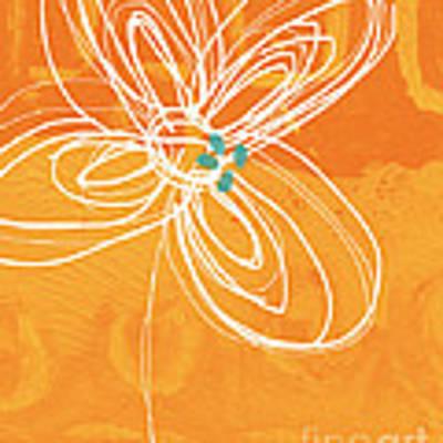 White Flower On Orange Poster by Linda Woods