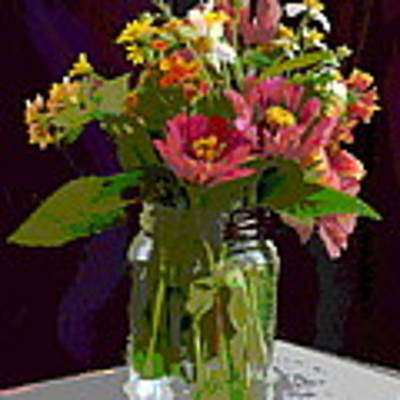 Wildflowers And Zinnias In A Jar  Contemporary Digital Art Poster by G Linsenmayer