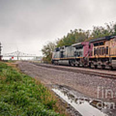 Winona Mn Train Scene Puddle Poster by Kari Yearous