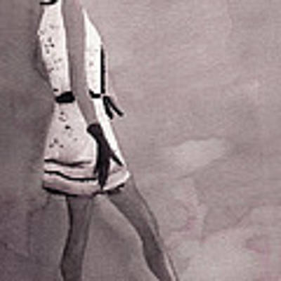Woman In A Black And White Mini Dress Fashion Illustration Art Print Poster by Beverly Brown