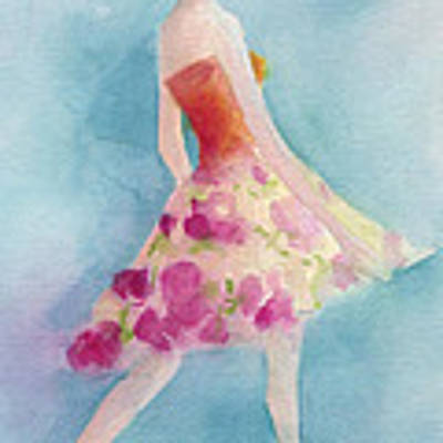 Woman In A Pink Flowered Skirt Fashion Illustration Art Print Poster